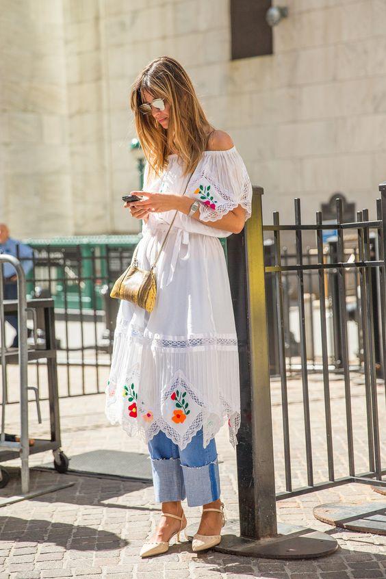 como usar calça com vestido
