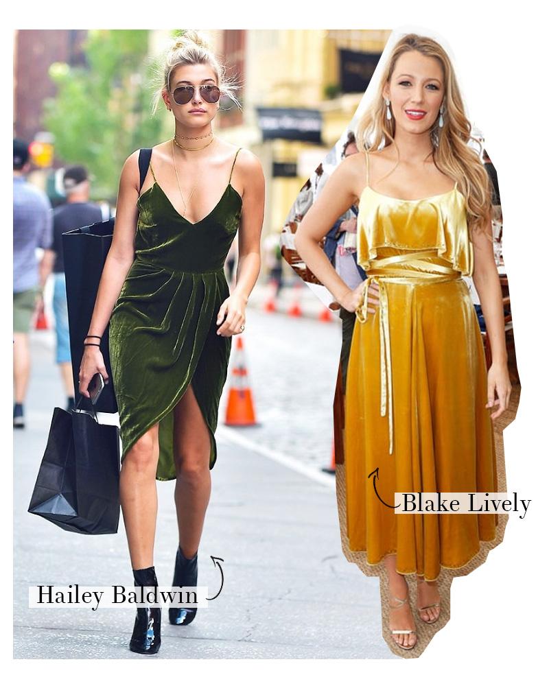 hailey baldwin e blake lively vestido de veludo