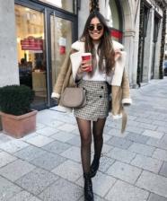 Ideias de looks de inverno com mini-saia